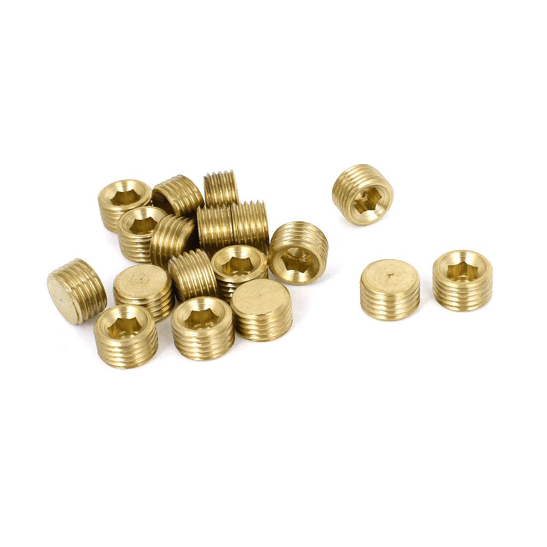 18 Pcs Air Pneumatic 1/4BSP Thread Brass Hex Head Pipe Contector Fastener
