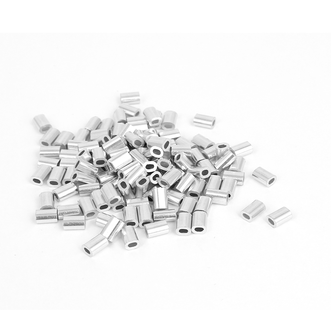 "0.8mm 1/32"" Steel Wire Rope Aluminum Ferrules Sleeves Silver Tone 100 Pcs"