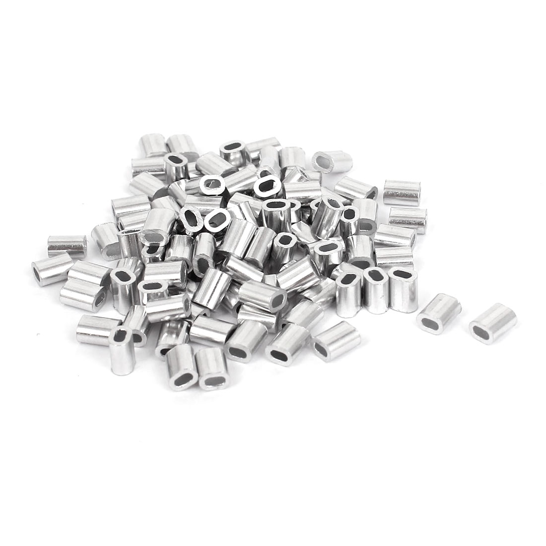 "1mm 3/64"" Steel Wire Rope Aluminum Ferrules Sleeves Silver Tone 100 Pcs"