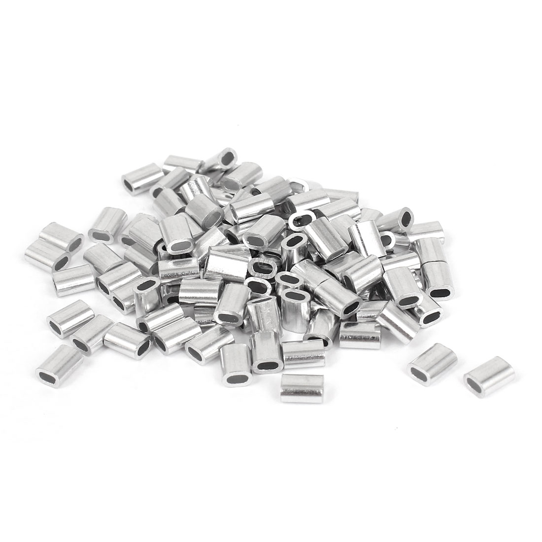 "1.2mm 1/20"" Steel Wire Rope Aluminum Ferrules Sleeves Silver Tone 100 Pcs"
