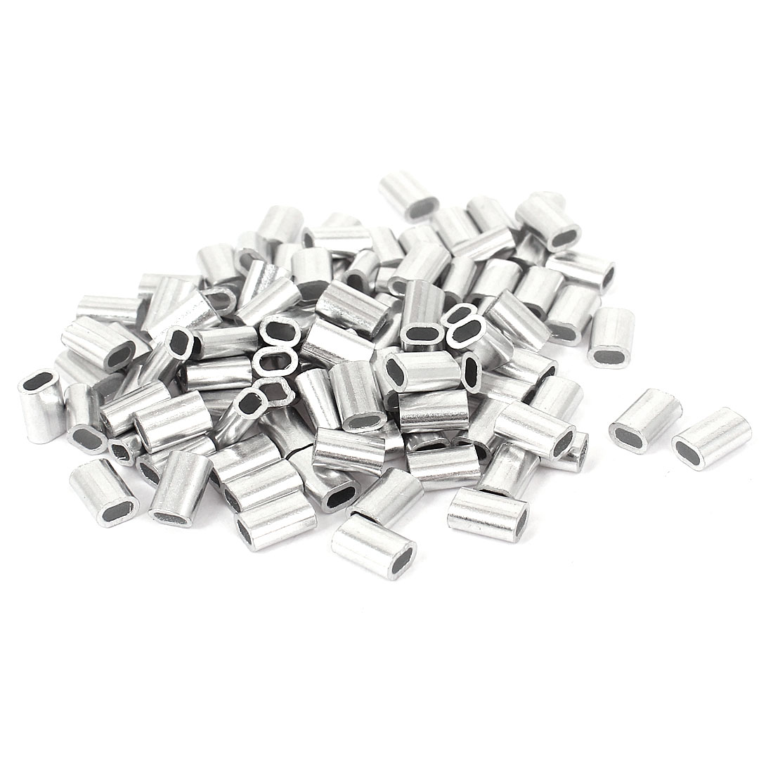 """1.5mm 1/16"""" Steel Wire Rope Aluminum Ferrules Sleeves Silver Tone 100 Pcs"""