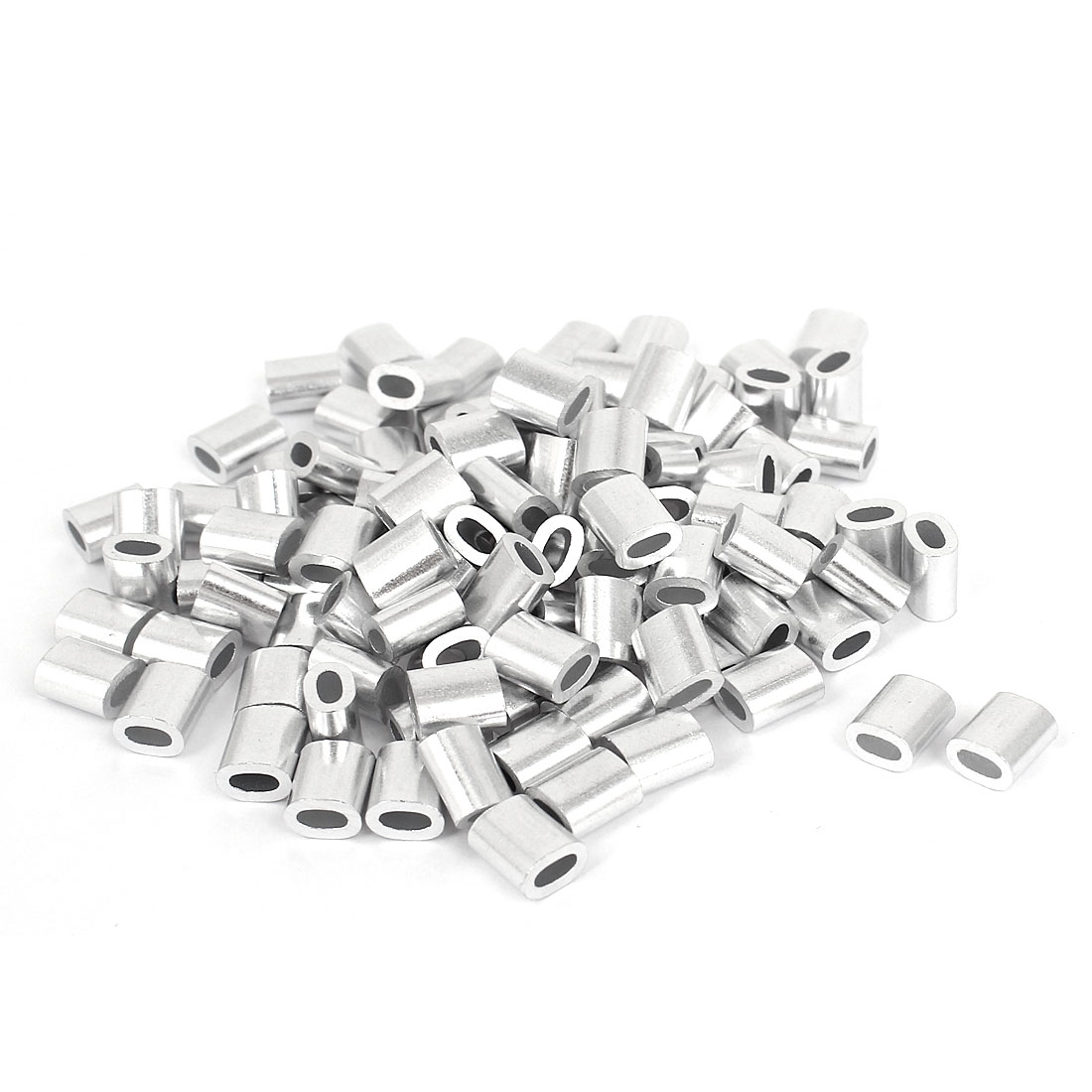 "1.8mm 1/16"" Steel Wire Rope Aluminum Ferrules Sleeves Silver Tone 100 Pcs"