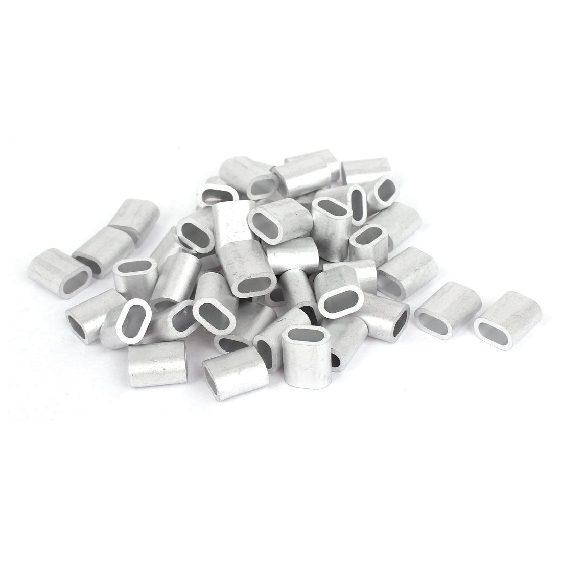 "4mm 5/32"" Steel Wire Rope Aluminum Ferrules Sleeves Silver Tone 50 Pcs"