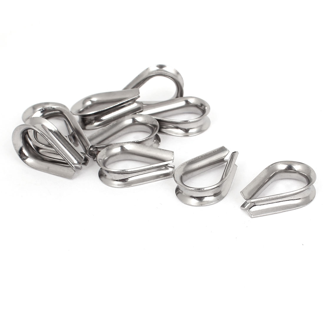 "Stainless Steel 5mm 3/16"" Standard Wire Rope Cable Thimbles Rigging Tool 10pcs"