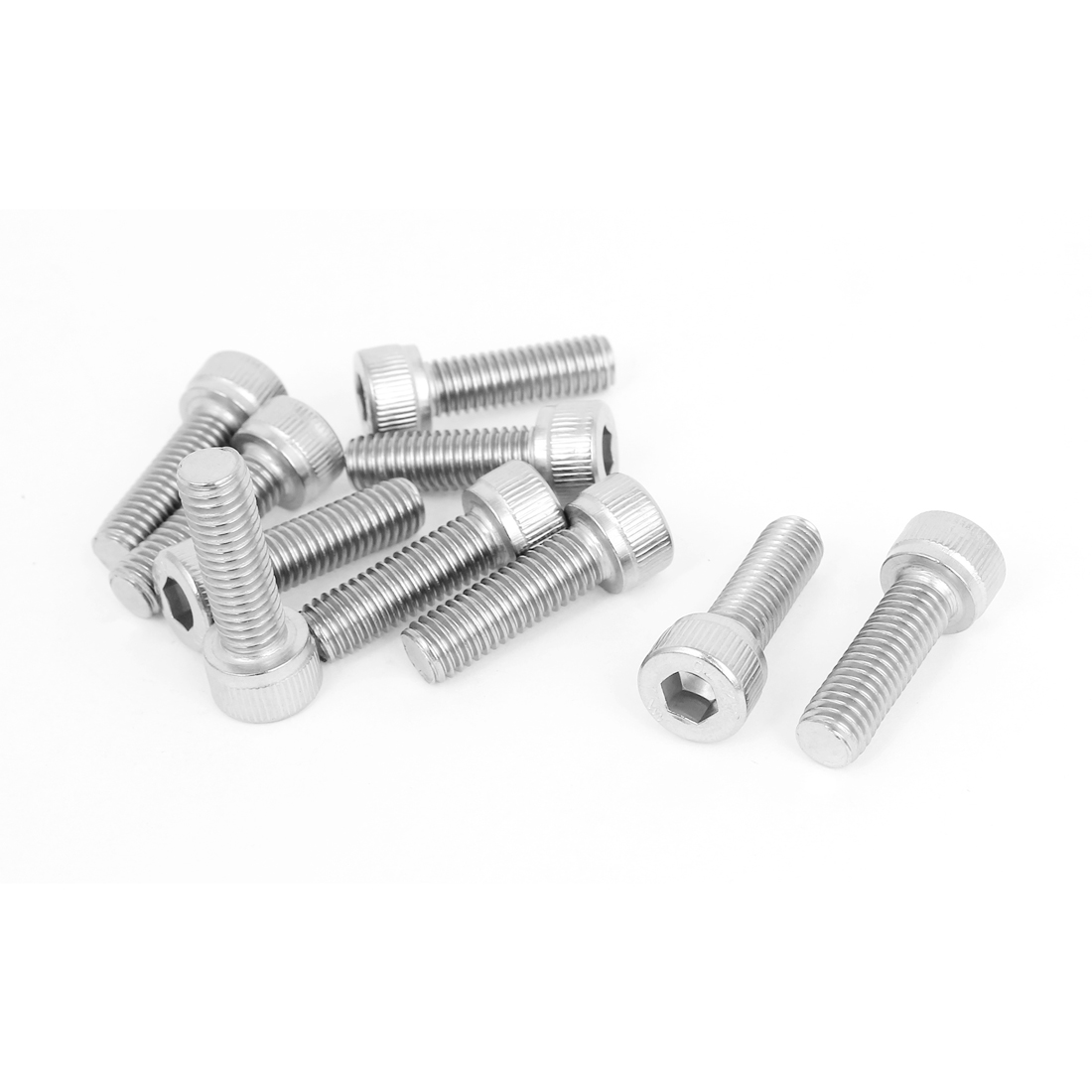 M8 x 25mm Threaded DIN912 Stainless Steel Hex Socket Head Cap Screws 10pcs