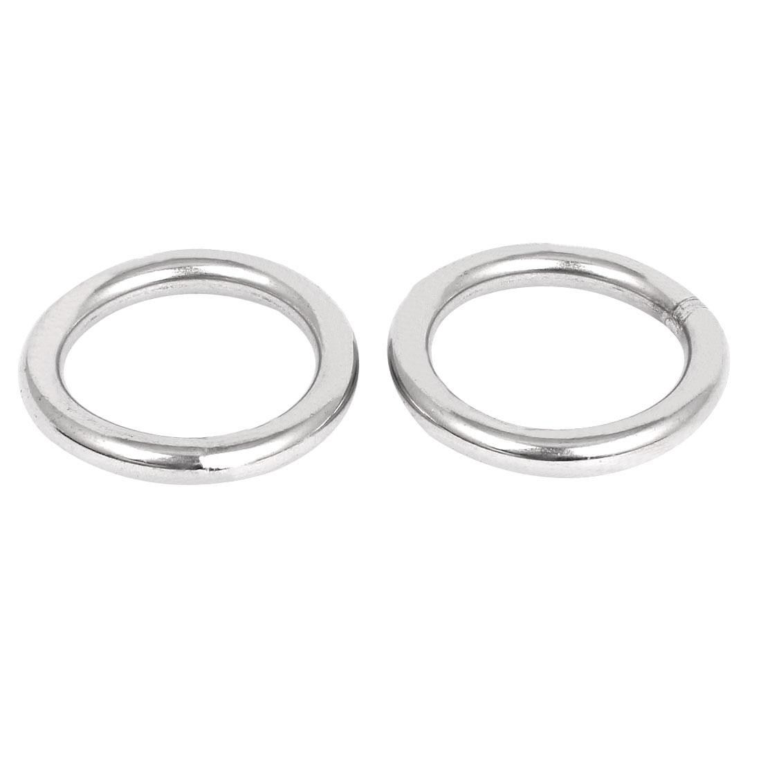 60mm x 8mm 304 Stainless Steel Webbing Strapping Welded O Rings 2 Pcs