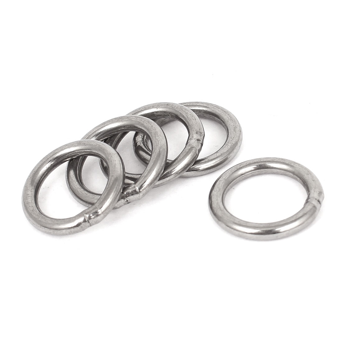 20mm x 3mm Stainless Steel Webbing Strapping Welded O Rings 5 Pcs