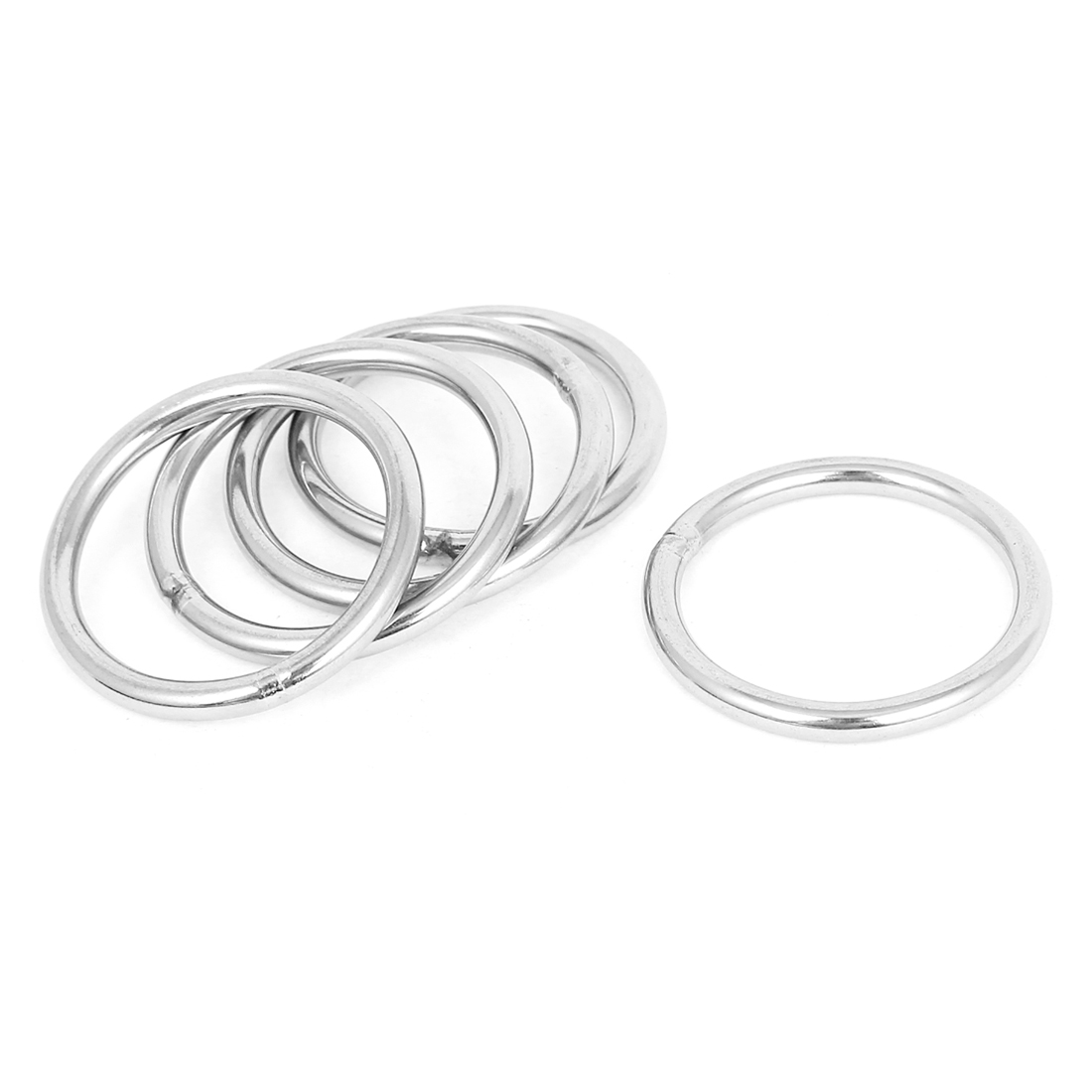 40mm x 4mm Stainless Steel Webbing Strapping Welded O Rings 5 Pcs