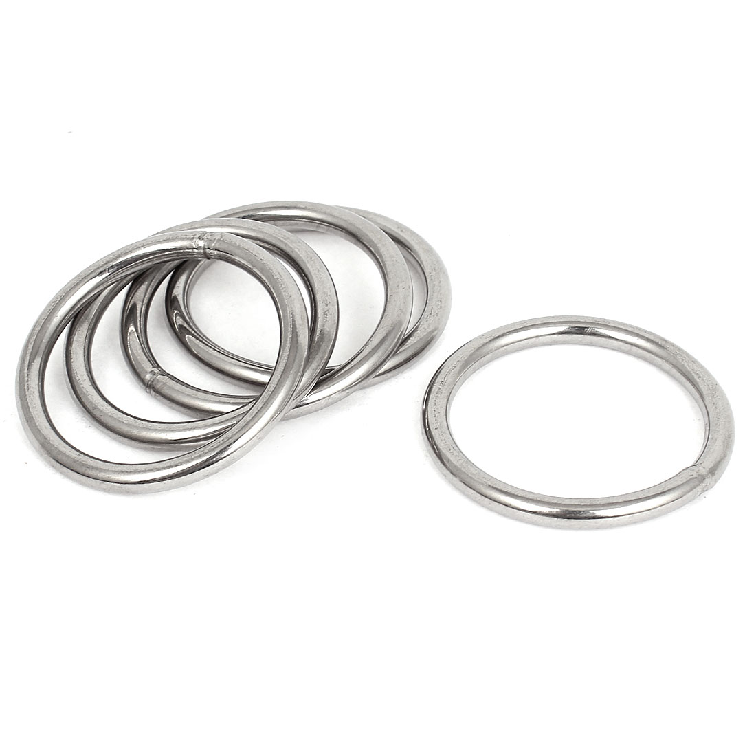 50mmx40mmx5mm Stainless Steel Webbing Strapping Welded O Rings 5 Pcs
