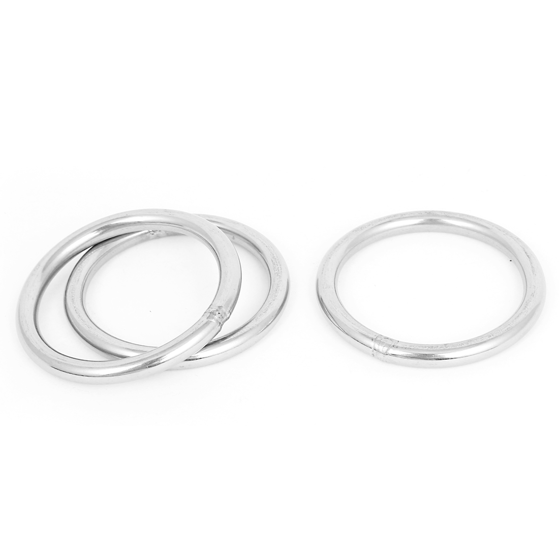 60mm x 6mm 304 Stainless Steel Webbing Strapping Welded O Rings 3 Pcs