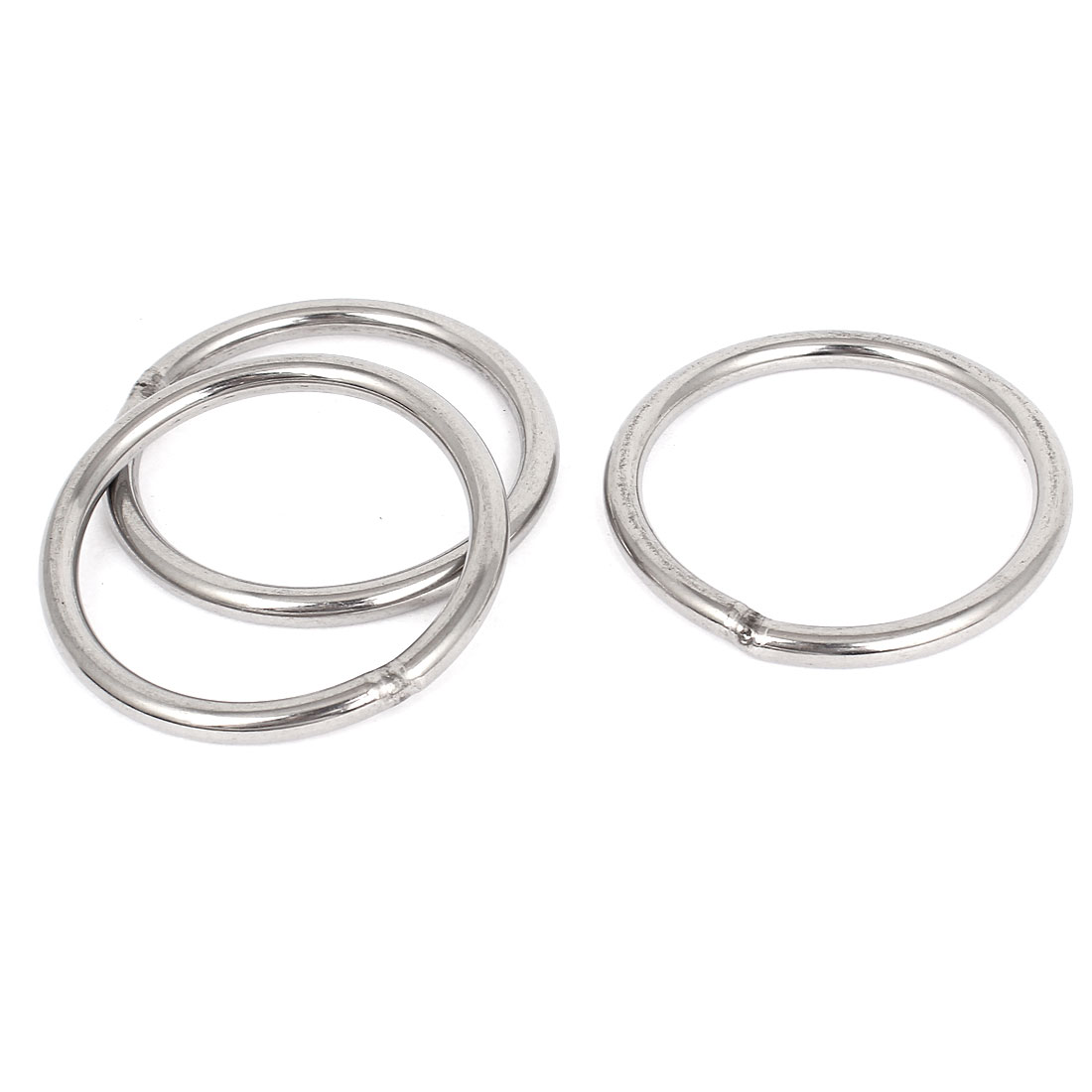 70mm x 6mm Stainless Steel Webbing Strapping Welded O Rings 3 Pcs