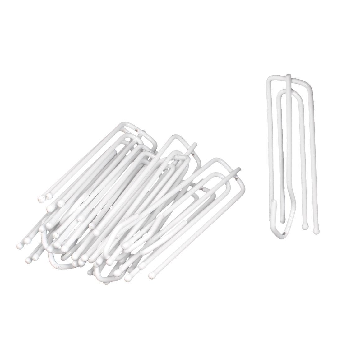 72mm Long White Metal 4 Prongs Pinch Pleat Drapes Curtain Hooks 10 Pcs