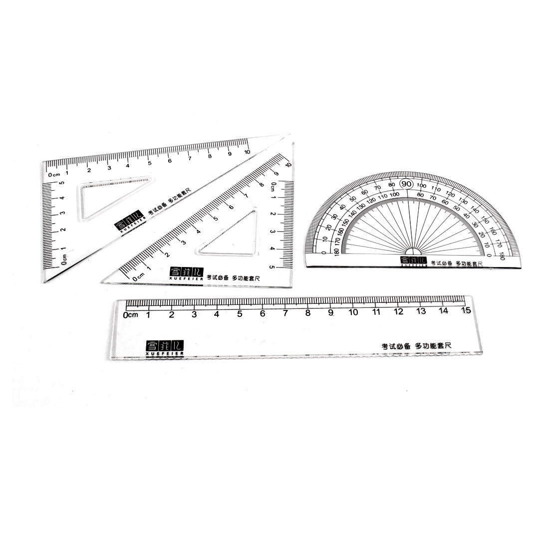 School Student Protractor Straight Triangle Combination Rule Set 4 in 1