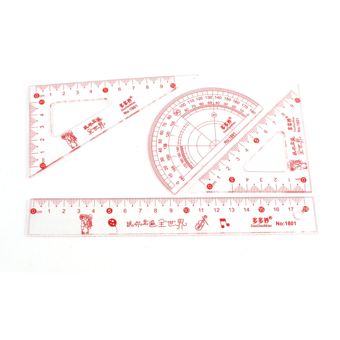 4 in 1 Plastic Cartoon Words Pattern Protractor Combination Ruler Set Clear Red