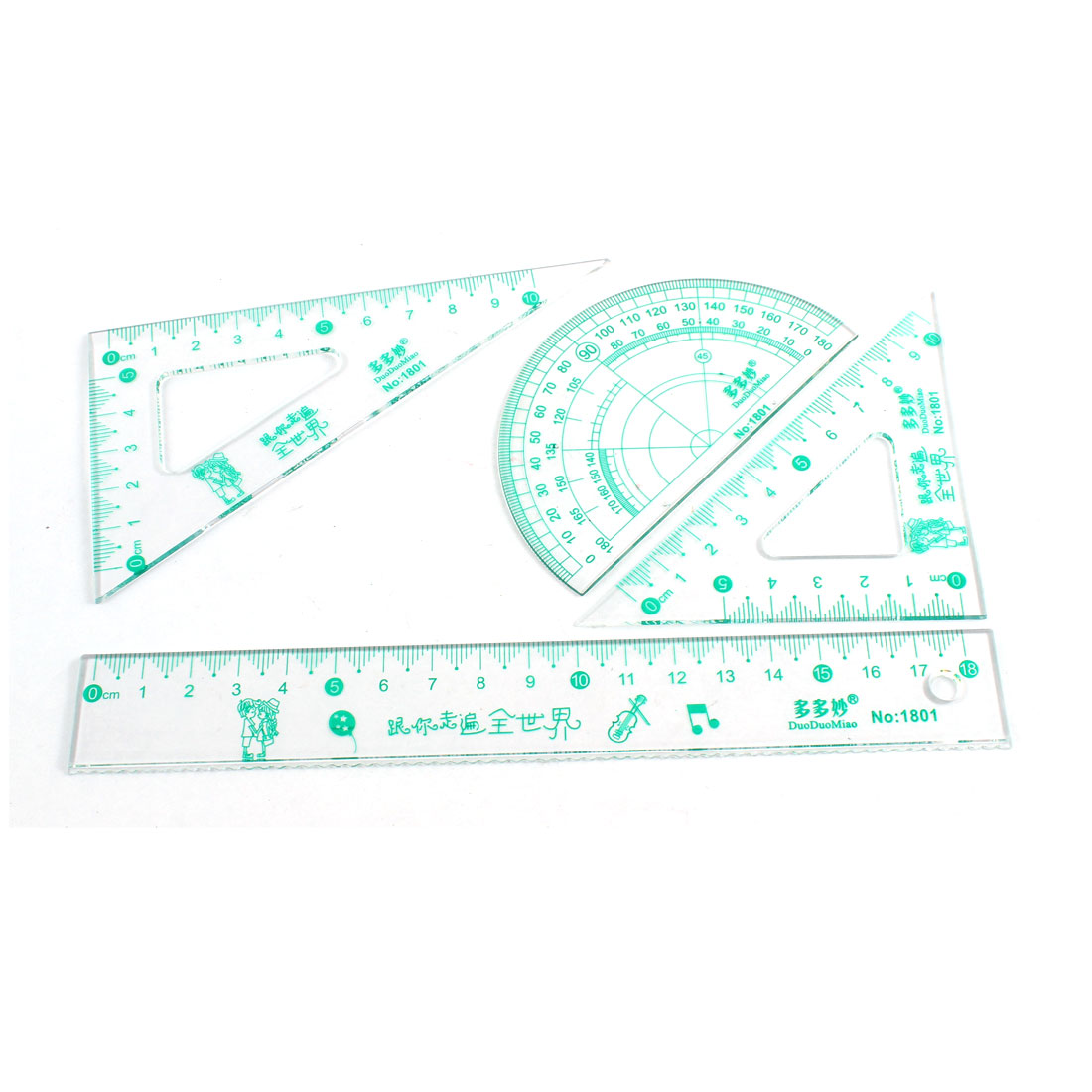 4 in 1 Words Pattern Protractor Triangle Math Geometry Ruler Set Clear Green