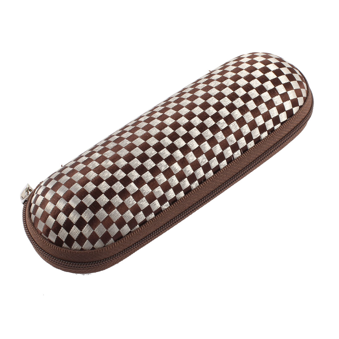Coffee Color Zippered Mini Square Pattern Oval Sunglasses Eyeglasses Case