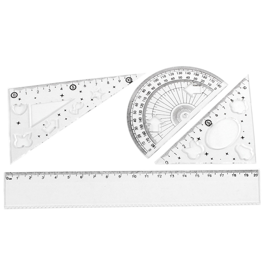 4 in 1 Clear Calibrated Protractor Straight Triangle Math Geometry Tool Rule Set