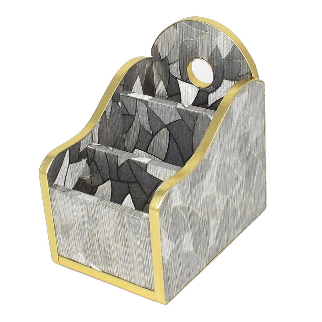 Home Desk Decor Silver Tone 3 Slot Inside Rose Print Wooden Storage Box Holder