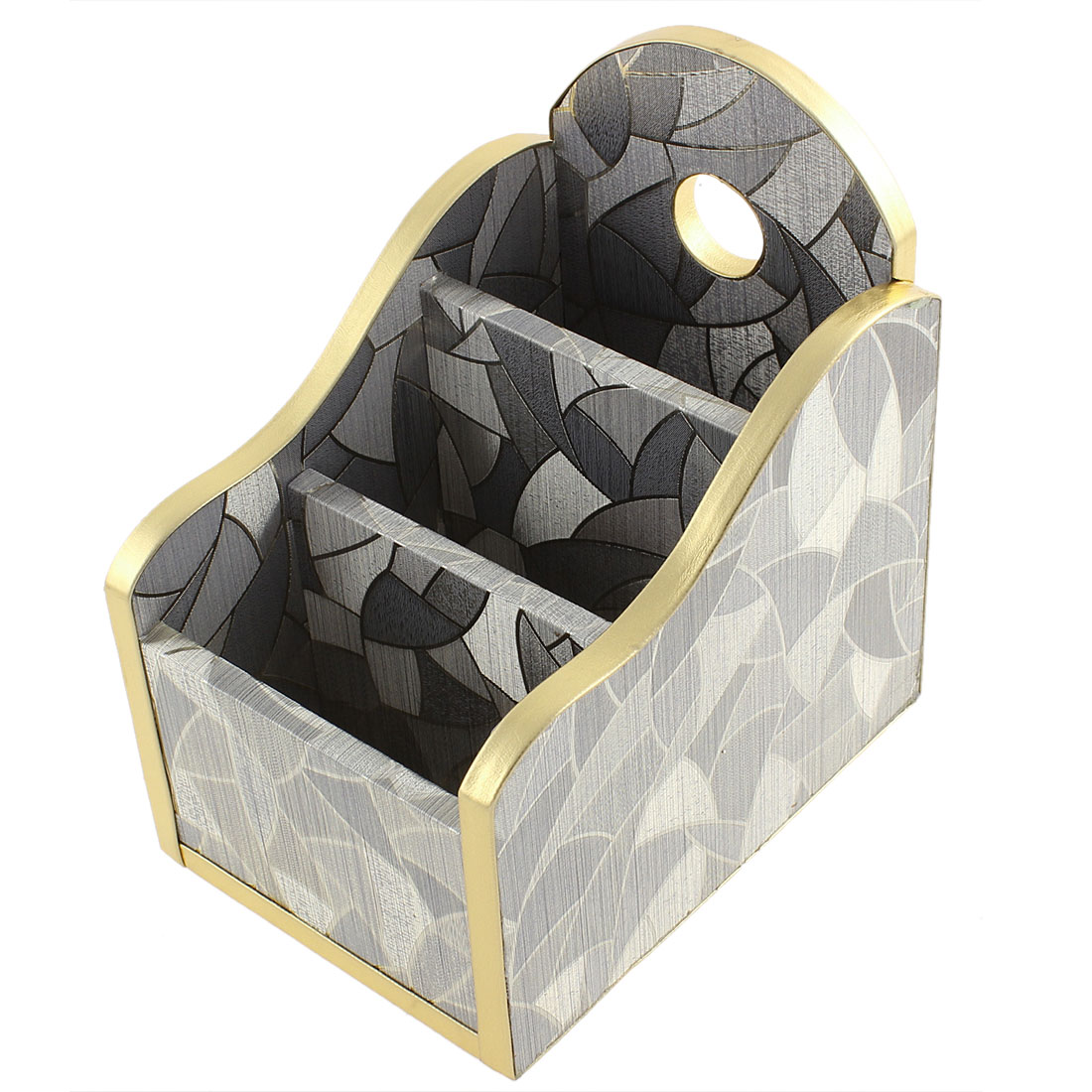Home Craft Gradient Silver Tone Irregular Shape Pattern Storage Box Holder