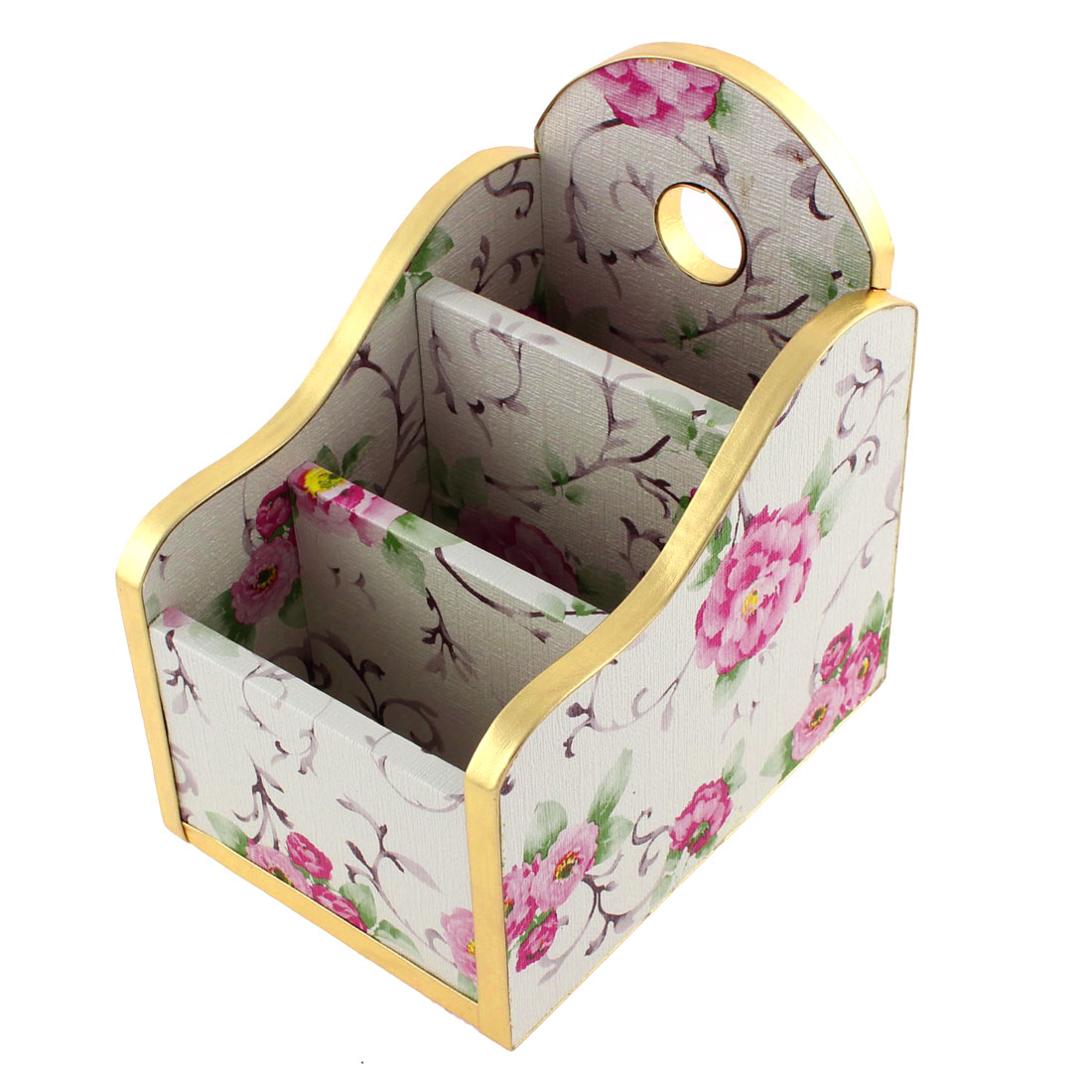White Pink Peony Printed 3 Rectangle Slot Wooden Craft Jewelry Storage Box