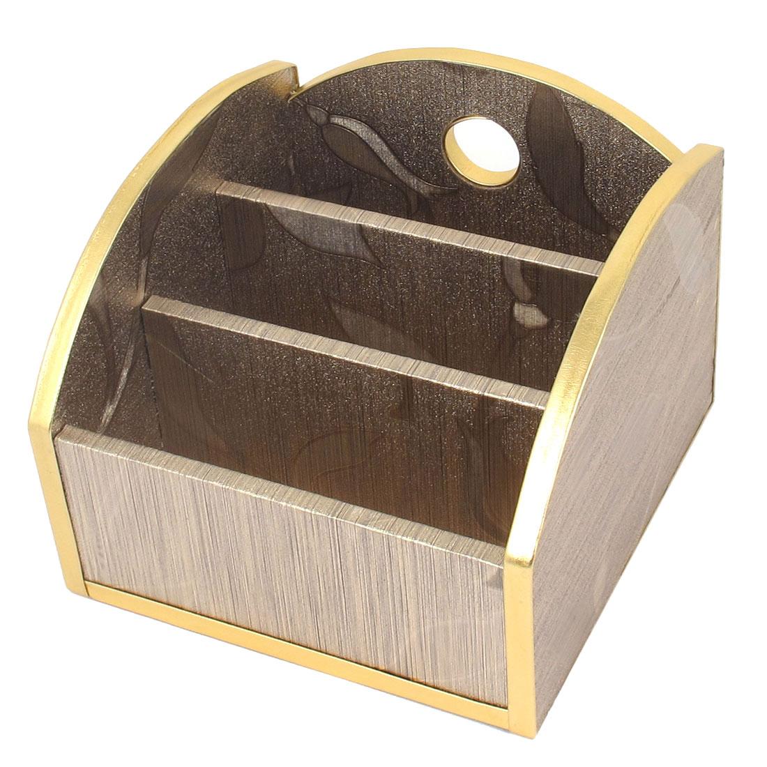 TV Remote Control Flower Pattern 3 Slot Design European Style Wooden Storage Box