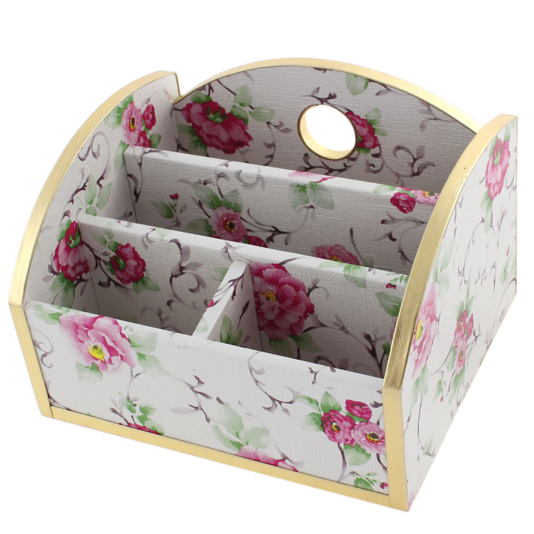 Home Craft 4 Slot Design Peony Printed Universal Wooden Mobile Phone Storage Box