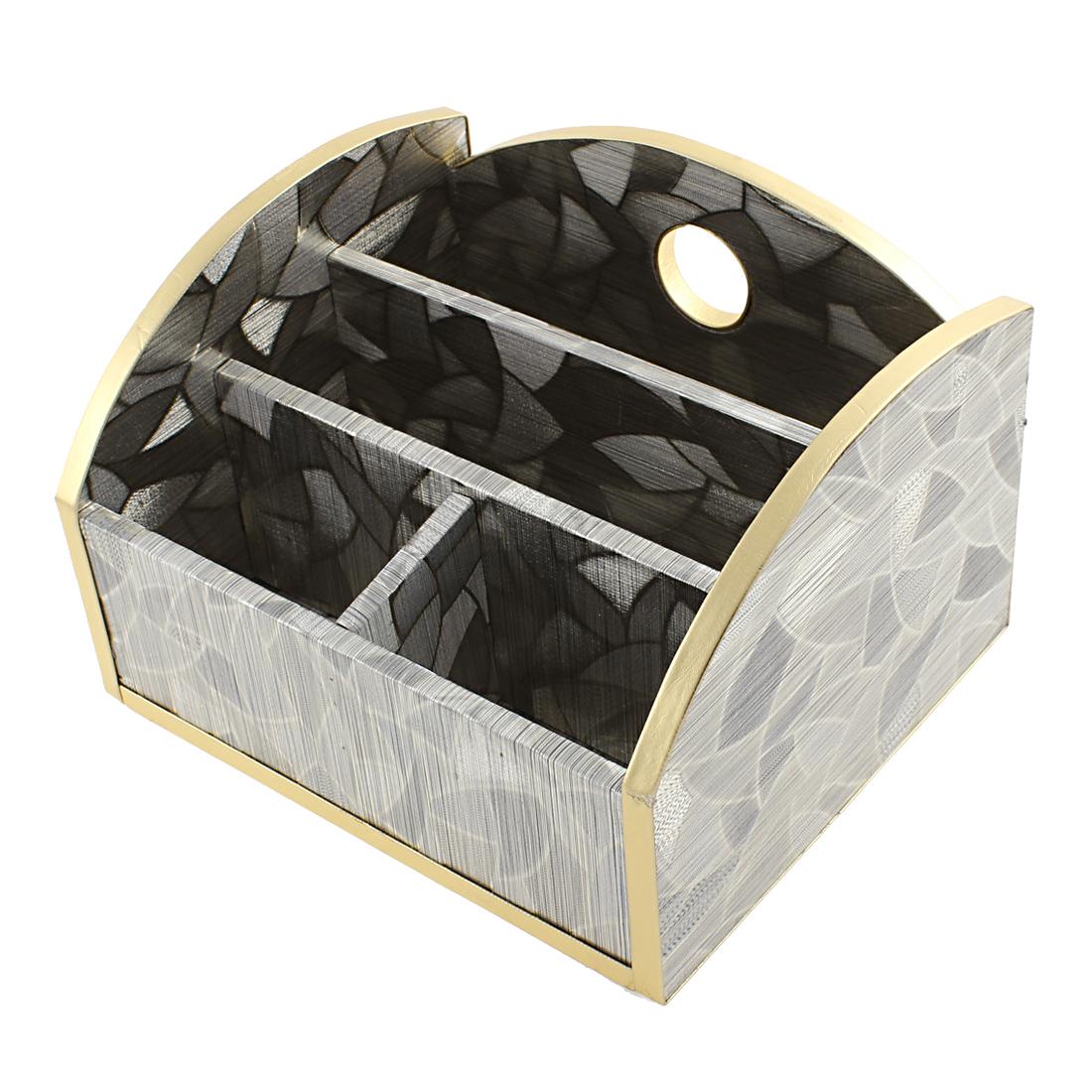 Gradient Silver Tone Irregular Shape Pattern Universal 4 Slot Wooden Storage Box