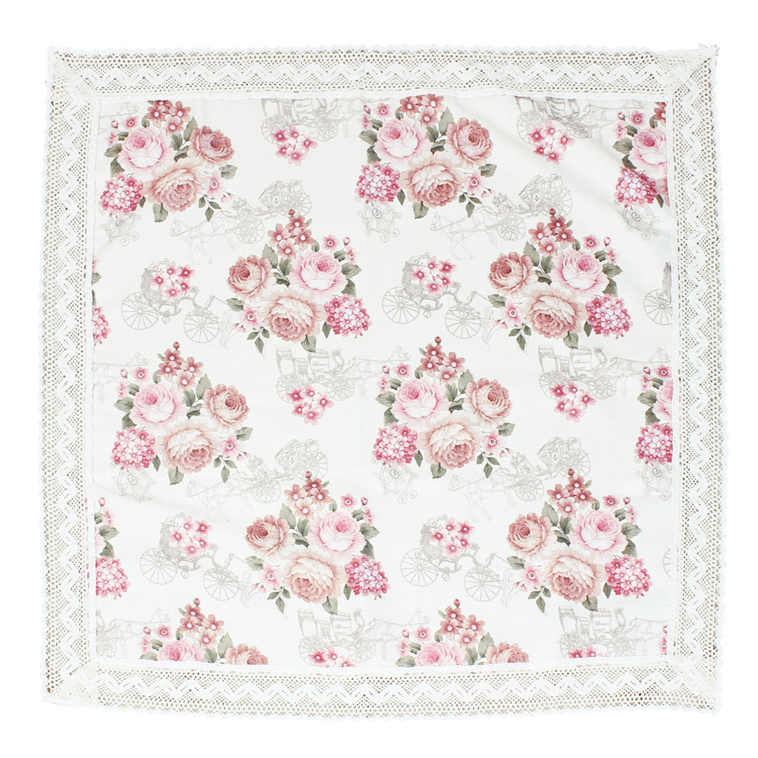 "Cotton Polyester Garden House Light Pink Flower Pattern Decoration Cover Tablecloth Water Oil Stain Resistant Square 35.4"" x 35.4"""