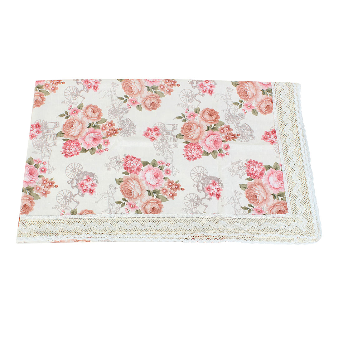Wedding Party Decor Flower Carriage Print Tablecloth Light Pink 150 x 150cm