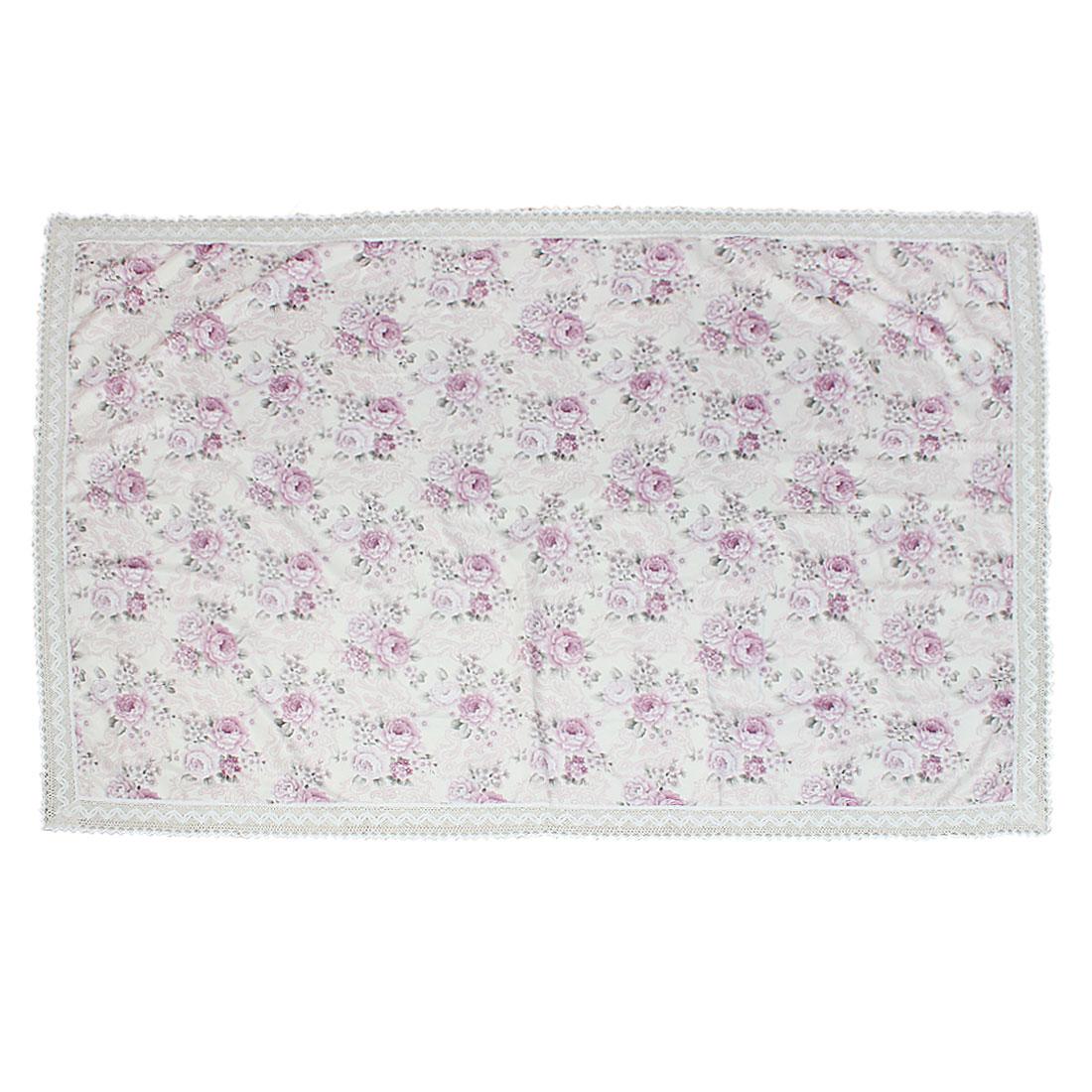 130cm x 180cm European Style Floral Print Rectangle Lace Tablecloth Light Purple