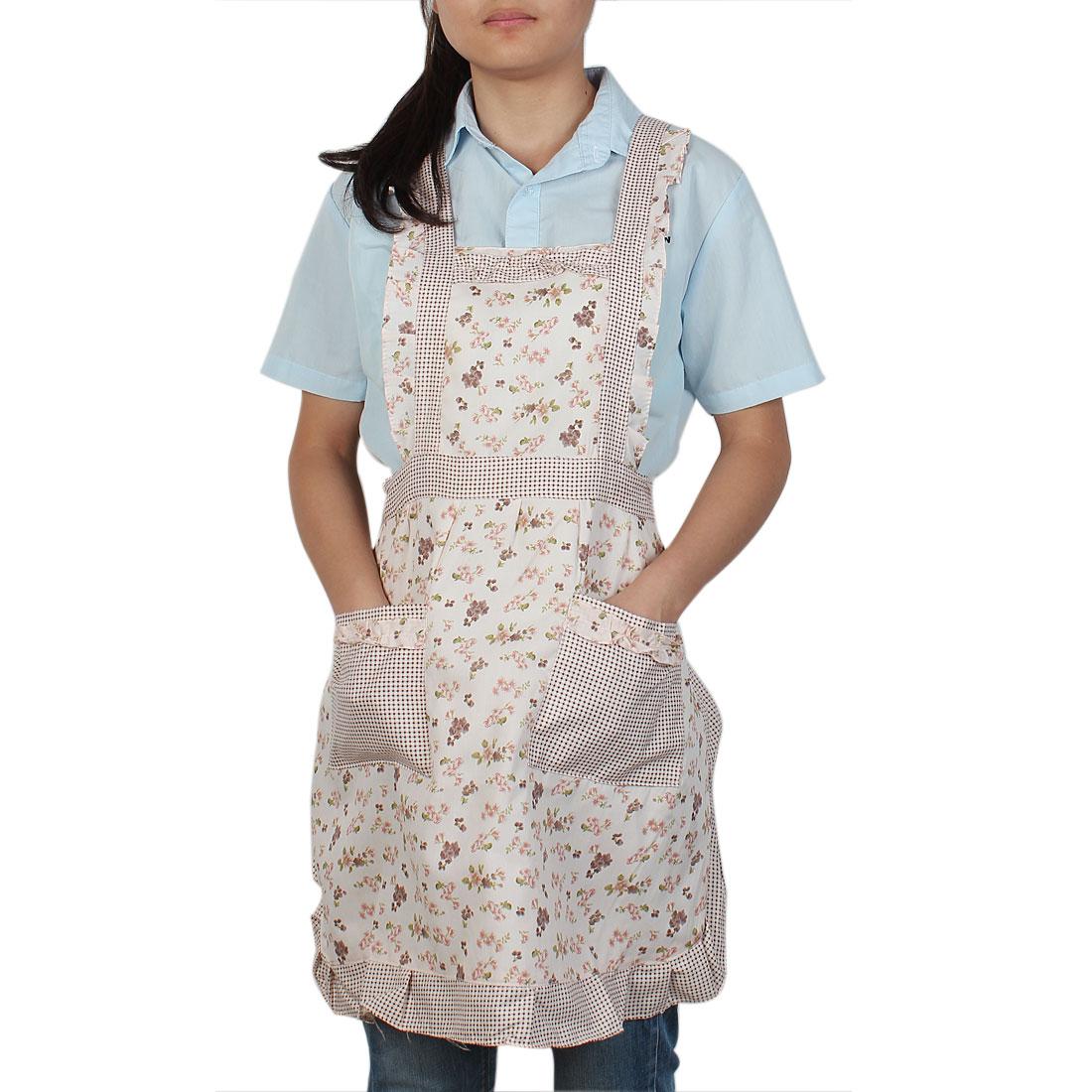 Cook Cooking Pink Flower Pattern 2 Front Pocket Self Tie Bib Aprons 83cm Length