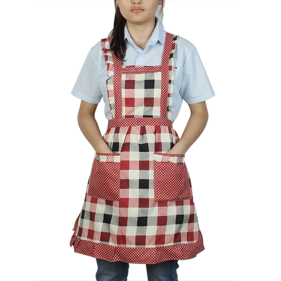 Chefs Cook Working Dual Pocket Plaid Mini Flower Pattern Self Tie Bib Apron