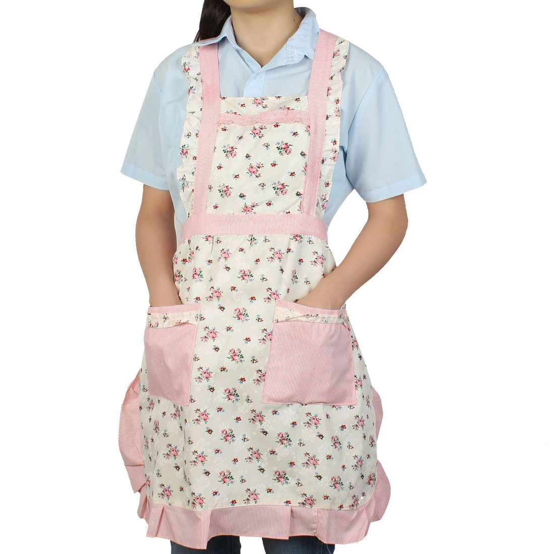 Cooking Floral Printed 2 Front Stripe Pocket Self Tie Bib Aprons 83cm Long