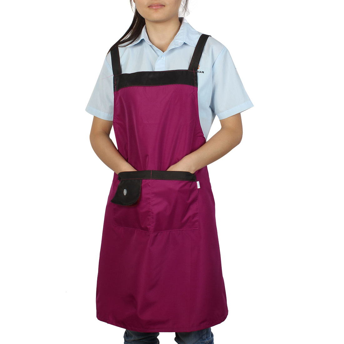 Kitchen Restaurant Women Cooking Self Tie Dual Pocket Bib Apron Dress Burgundy