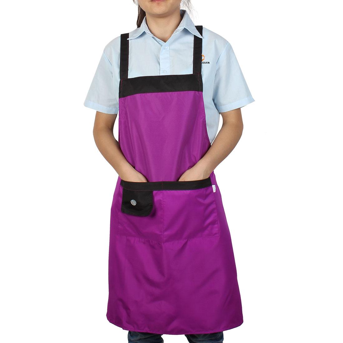Kitchen Cook Cooking Self Tie Button Detail 2 Pocket Bib Apron Dress Brown