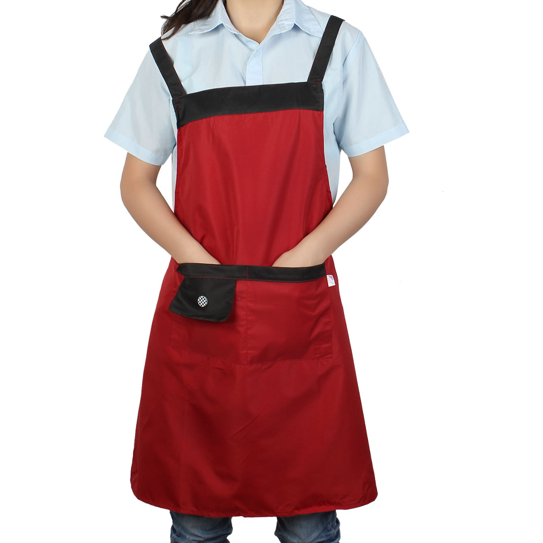 Chef Waiter Kitchen Cook Button Detail Self Tie 2 Pockets Bib Apron Red