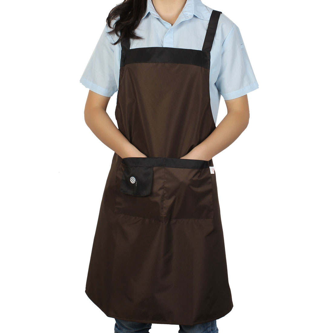 Home Cook Cooking Self Tie Button Accent 2 Pocket Bib Apron Dress Gray
