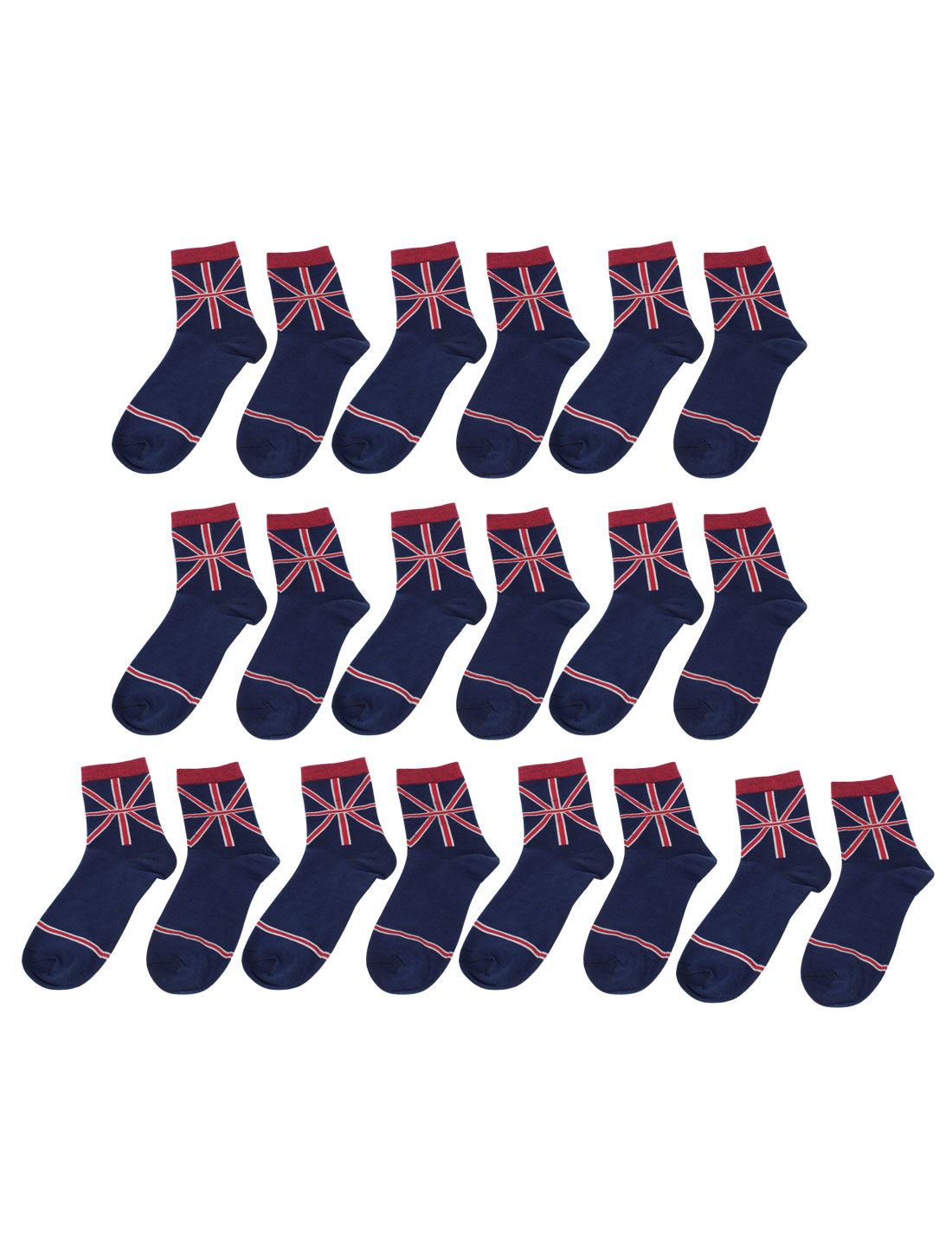 Men Red Stripes Print Ankle High Style Stretchy Sport Socks 10 Pairs