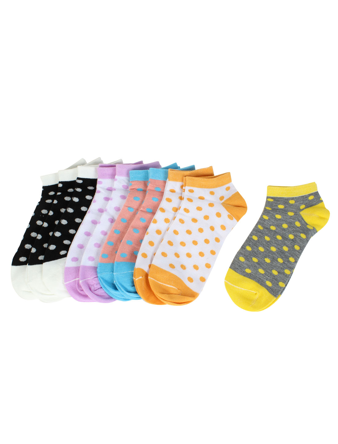 10 Pairs Multicolor Dot Print Knit Stretchy Low Cut Casual Ankle Socks