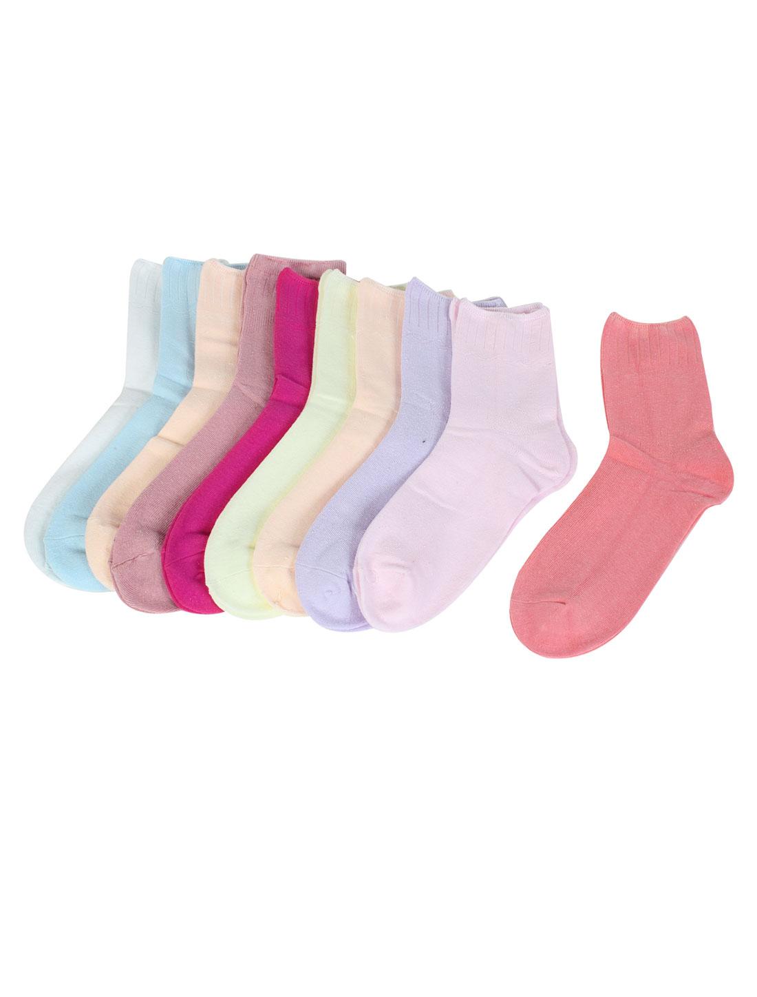 Ladies Multicolor Knited Elastic Ankle High Casual Socks 10 Pairs