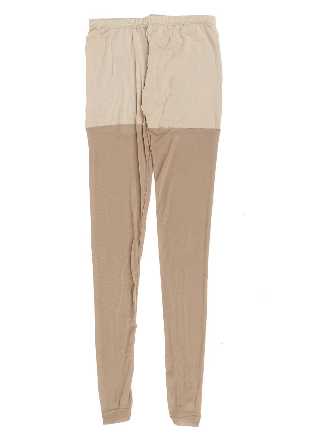 Women Skin Tone Stretch Waist Semi Sheer Leggings Net Stirrup Pantyhose US 4