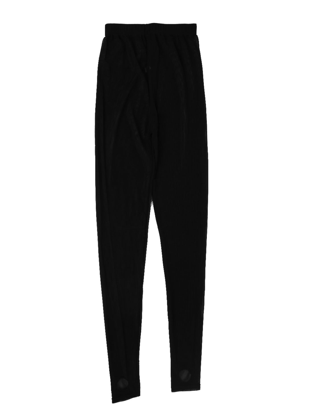 Lady Black Close Fitting Semi Sheer Leggings Mesh Stretch Stirrup Pantyhose US 0