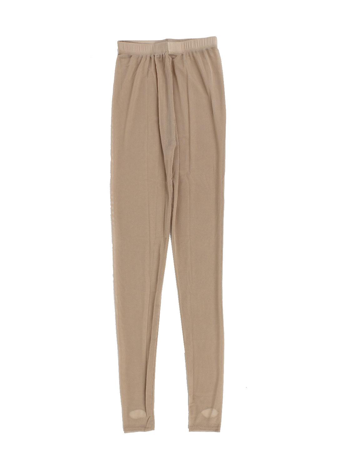 Lady Solid Color Leggings Mesh Elastic Stirrup Pantyhose Stockings US 0