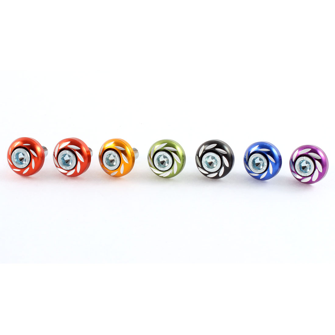 7 Pcs Multicolor Aluminium Decoration License Plate Bolt Screws Nut