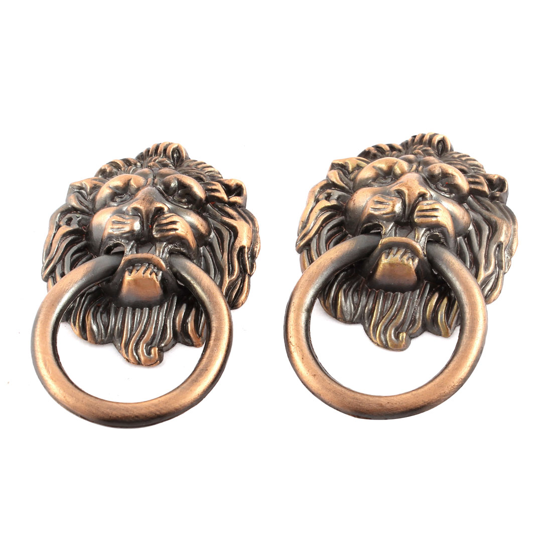 Furniture Hardware Copper Tone Lion Head Shape Door Knob Pull Handle 2 Pcs