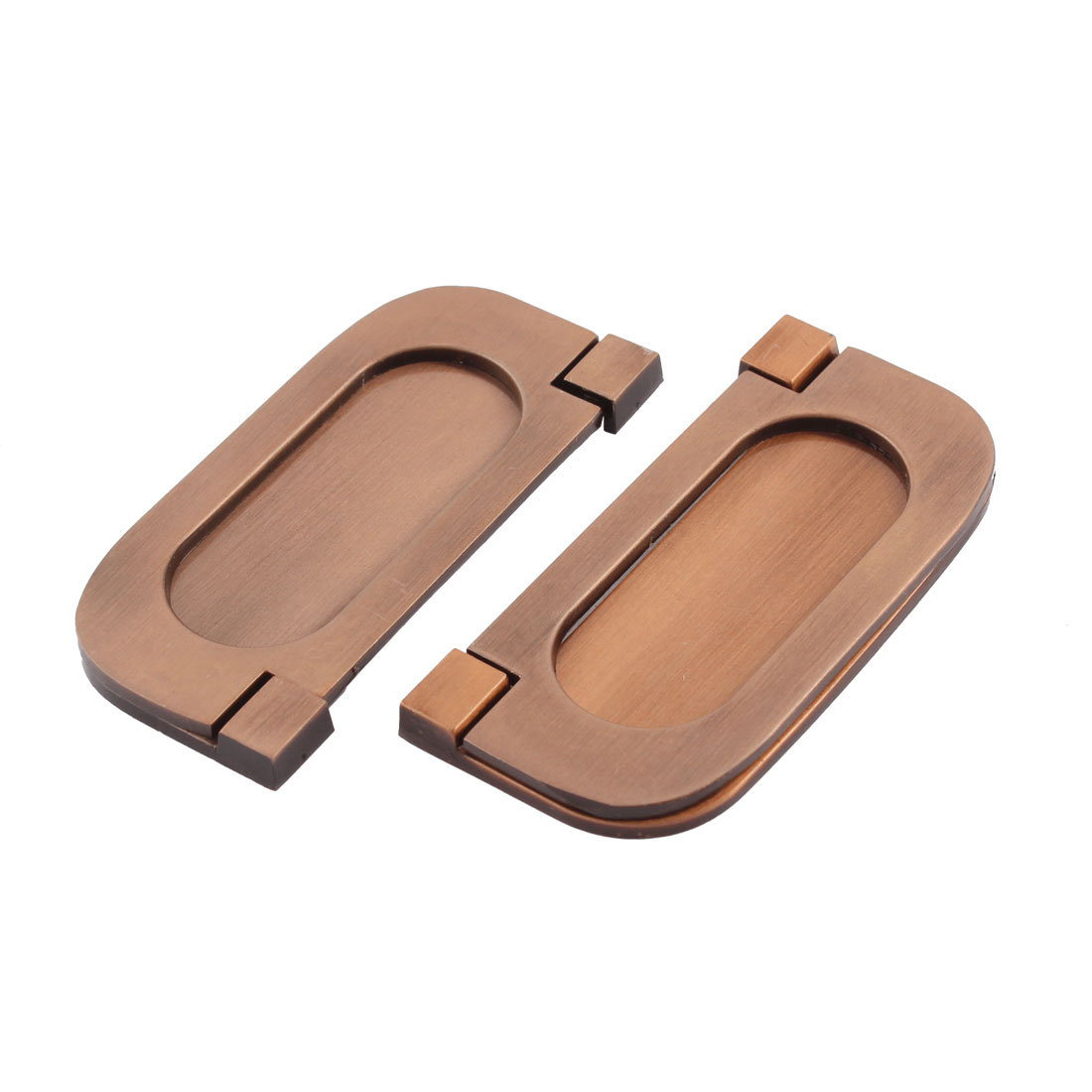 64mm Fixing Distance Cabinet Copper Tone Zinc Alloy Rectangle Pull Handle 2 Pcs