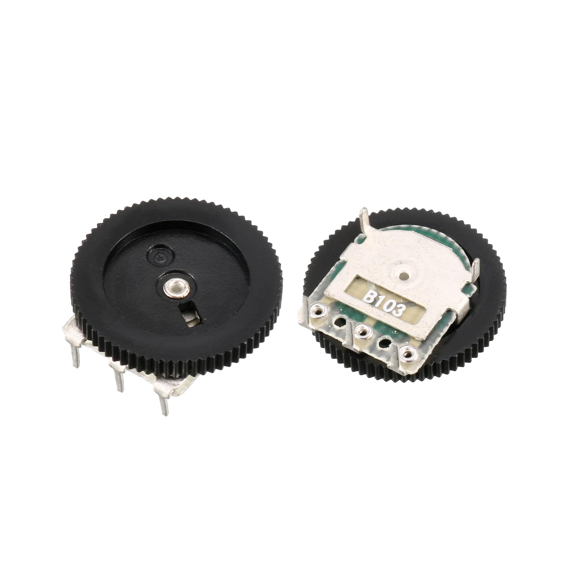 B103 10K Ohm 0.05W 3-Pin Dual Linear Dial Wheel Potentiometer 16mmx3mm 15pcs