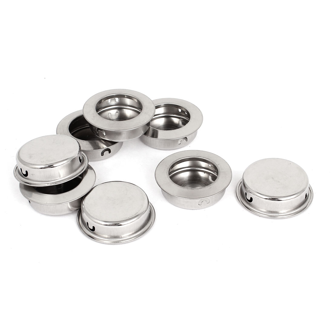 8pcs Stainless Steel Drawer Door Knob Concealed Mounting Round Flush Pull Handle