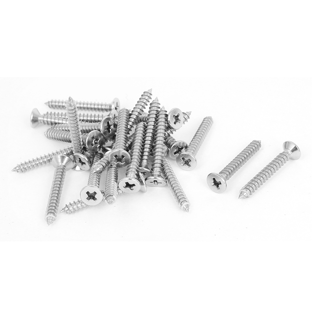26 Pcs Stainless Steel Phillips Flat Head Sheet Self Tapping Screws 30mm Long