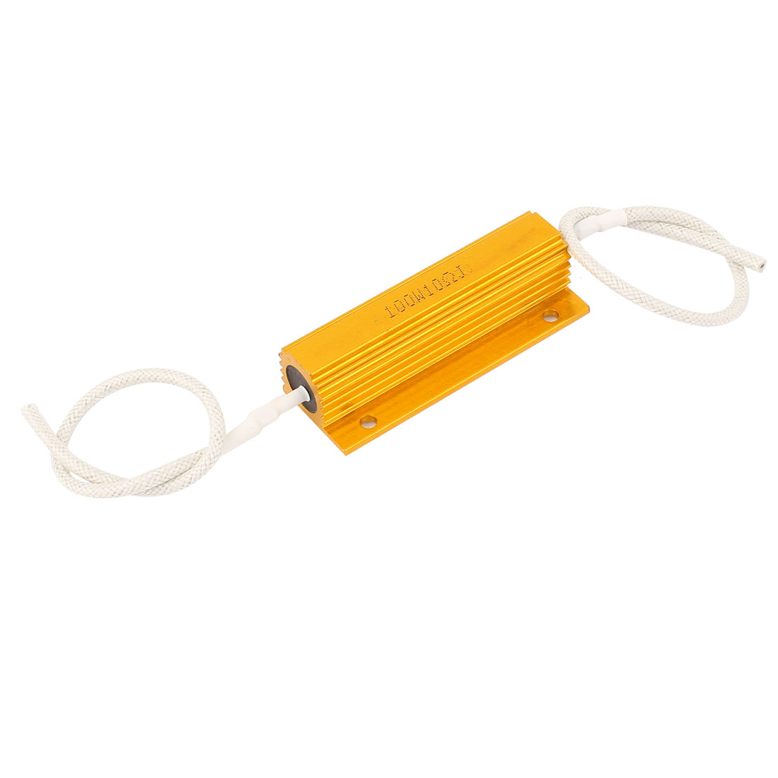 Car Aluminum 10 Ohm 100W 5% Wire Wound Loudspeaker Clad Resistor Gold Tone